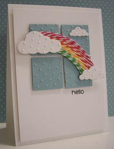 Cloud and rainbow card - Rainbow made from twine