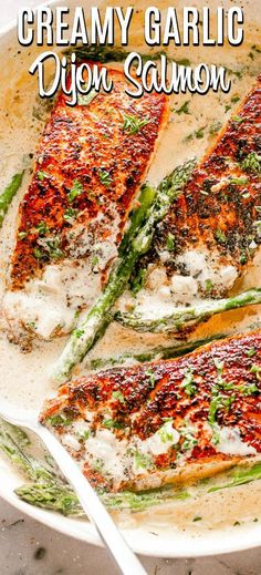 When it comes to seafood, this Creamy Garlic Dijon Salmon is our go-to. - When it comes to seafood, this Creamy Garlic Dijon Salmon is our go-to recipe! Low carb, K - Keto Foods, Salmón Keto, Healthy Low Carb Recipes, Keto Recipes, Dinner Recipes, Cooking Recipes, Fish Recipe Low Carb, Seitan Recipes, Budget Recipes