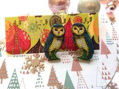 Owl Earrings  woodland bird studs unique gift for by Slumbermonkey