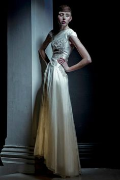 Jaimie sortino silk dupion gown with hand beaded detailing