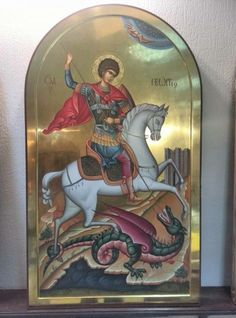San Jorge - Heilige Joris Byzantine Icons, Byzantine Art, Religious Icons, Religious Art, Patron Saint Of England, Famous Freemasons, Saint George And The Dragon, Religious Paintings, Art Icon