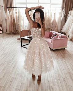Wild Stars Ombre Midi Wedding Dress by Boom Blush.- Wild Stars Ombre Midi Wedding Dress by Boom Blush. Sparkly Celestial Wedding Gown with Stars and Sequins. Pretty Homecoming Dresses, Hoco Dresses, Pretty Dresses, Beautiful Dresses, Tea Length Dresses, Dress Prom, Elegant Dresses, Casual Dresses, Dress Formal