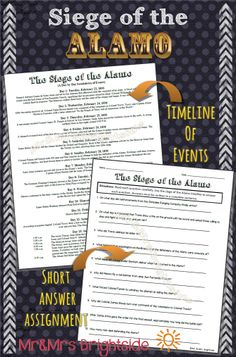 Texas - Siege of the Alamo :brief summary of each day of the 13 days it took Mexico to capture the Alamo. Also includes a 10 question short answer quiz/assignment.