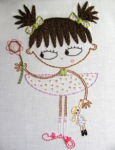 Embroidered Girl with Doll