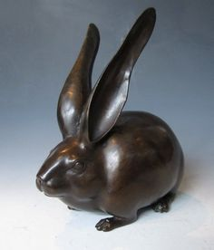 picture of japanese rabbits | Japanese Bronze Sculpture of a Rabbit