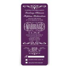 Chic Vintage Wedding Ticket Invitation