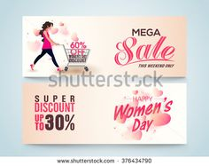 Creative website header or banner set of Mega Sale with Super Discount Offer for Limited Time on occasion of Happy Women's Day celebration. - stock vector