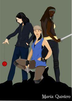 Tara Chambler, Rosita Espinosa y Michonne de The Walking Dead. Ilustración realizada en Illustrator.