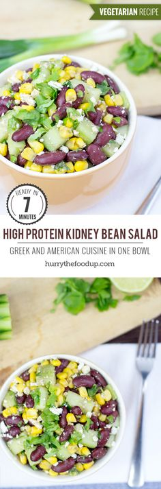 Healthy Tips High Protein Kidney Bean Salad. Greek And American Cuisine In One Bowl Salad Recipes, Diet Recipes, Cooking Recipes, Healthy Recipes, Healthy Tips, Vegetarian Protein, Vegetarian Recipes, Vegetarian Cooking, Vegetarian Salad
