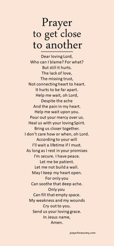 Prayer to get close to another