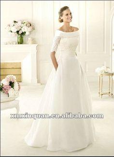 JWD093 Elegant designer off the shoulder wedding dress 2013 with sleeves