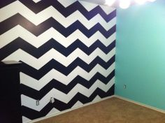 Maddie's new room for her Bday.  Tiffany Blue walls with Chevron accent wall.  24 hour project.  It was a fun to do!