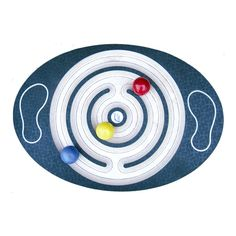 Balance Board Labyrinth is a wooden rocker board for ages 6 to adult. Players attempt to move up to thee colored wooden balls through the maze using body weight and balance. Develops strength, coordination and focus while kids have fun!