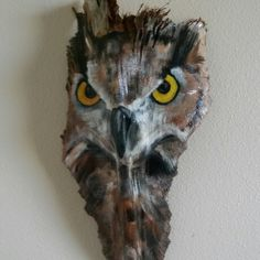 Owl  painted palm frond avaiable at my etsy store paintedpalmsbypenn