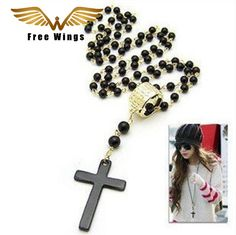 Black Beads Necklaces Pendants Gold Metal Vintage Retro Necklaces New Long Cross Necklace for Women Chain Gift  N011 B2.5-30a