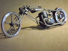 Hey, I found this really awesome Etsy listing at https://www.etsy.com/listing/182643935/digger-style-motorcycle-metal-sculpture