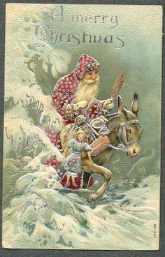 Santa Riding Donkey in Snow Post Card 1908