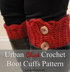 Free Crochet Pattern – Urban Chick Crochet Boot Cuffs  These Urban Chick Crochet Boot Cuffs are quick, easy, stylish and fun to make! Inspired by the need for Fall fashion style and Winter warmth these book cuffs are barely over an advanced beginner stage so put your crochet skills to the test. If