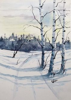 BIRCHES colorful print original original landscape original watercolor original painting modern wall painting print birch - Limited edition of original watercolor painting made by me. Painting Snow, Winter Painting, Painting Prints, Watercolor Landscape Paintings, Watercolor Trees, Simple Watercolor, Watercolor Artists, Watercolor Portraits, Painting Abstract