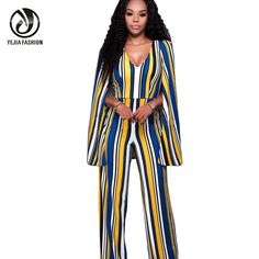 6cda4429c7c18 YJSFG HOUSE V Neck Sleeveless Cape Rompers Womens Jumpsuit 2017 High Waist Backless  Sexy Long Bodysuit Women Striped Overalls-in Jumpsuits from Women's ...