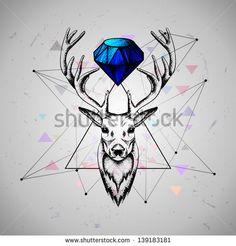 deer with diamond - stock vector