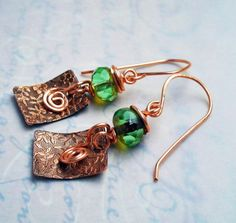 Just in time for St Patty's day!! Kiss me I'm Irish St Patty Flower Stamped Copper Earrings w Green Crystals & Swirls