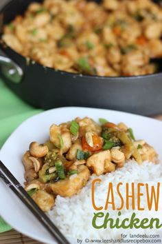 Easy Cashew Chicken Recipe - ONE PAN and ready in 30 minutes!  The perfect dinner recipe for those busy weeknight or anytime.  It's delicious!
