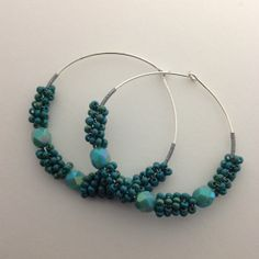 Cyan glass bead hoops by TheMagicOfBeads on Etsy, ¥1200