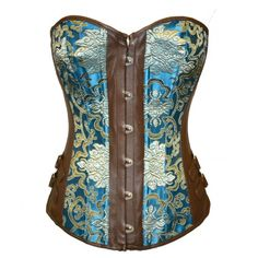 A3411 - Turquoise and Gold Pattern Corset with Brown Faux Leather - Fashion Corsets