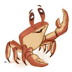 Crab by GuillermoRamirez Cartoon Sea Animals, Cute Animals, Crab Art, Crab And Lobster, Best Zodiac Sign, Character Design, Character Reference, Book Design, Cartoon Characters