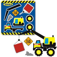 10 MAKE YOUR OWN TONKA TRUCK Stickers Construction Party Goody Bag Favor Supply