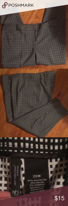 Pants Black and white checked dress pants new directions Pants