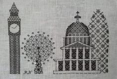 Three stunning Blackwork kits designed and produced by Masako Newton. Masako trained at the RSN gaining her Certificate, Diploma and Advanced Diplomas in Te Blackwork Embroidery, Embroidery Kits, London Skyline, Simple Cross Stitch, Pillow Box, Linen Fabric, Needlepoint, Needlework, Sewing