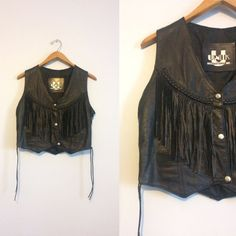 Vintage 80s Black Leather Fringe Vest / Motorcycle Biker Rocker Vest U8cWaCjB