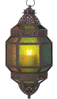 "Large Moroccan Hanging Lantern. A fiery glow dazzles through multi-colored glass panels. Anywhere you hang it, the large candle lantern is sure to impress! 8¼"" x 7½"" x 18¾"" high. $39.00"