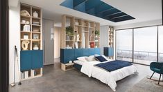 """A fitted dressing room comprising bespoke Magnus-coloured melamine wardrobes with Celest fronts on either side of the bed and a personalised bedside table that screams """"unique"""". Living Room Storage, Bedroom Storage, Storage Spaces, Schmidt, Corner Wardrobe, Built In Wardrobe, Dressing Angle, Made To Measure Wardrobes, Fitted Wardrobes"""