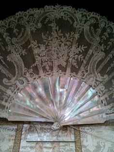 Brussels Lace Fan with Mother Of Pearl Sticks