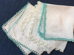 Bridesmaids Teal or Turquoise Vintage Hankies with gorgeous HAND crocheted and tatted borders -- PRISTINE Vintage Condition!  $34.95.  VintageStoryLinens.etsy.com.