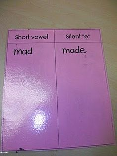 short vowel magic E transfer