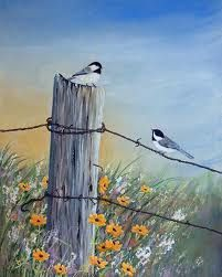 acrylic paintings of birds on fences - Google Search