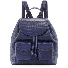 Nancy Gonzalez Crocodile Drawstring Backpack, Navy