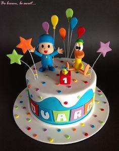 Tarta Pocoyo para el primer cumpleaños de Eduardo #pocoyo #tartapocoyo #pocoyocake #pocoyofondant #patofondant #pocoyoyamigos #tartainfantil #tartaprimercumpleaños #tarta #cake Boys First Birthday Cake, Dinosaur Birthday Cakes, Boy Birthday Parties, Baby Birthday, Beach Cakes, Cakes For Boys, Celebration Cakes, Party Cakes, Cake Designs