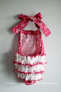 Little Girl Ruffle Romper Sun Suit in Pink Riley Blake with White Ruffles! by WonderfullyMadebyJul via Etsy.