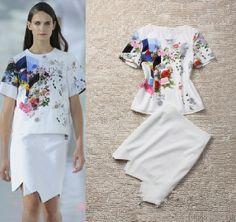 Runway fashion womens flower print t-shirt tops + irregular midi long skirts asymmetrical skirt saia female clothing set clothes $32.78 - 34.55