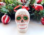 Red and Green Ceramic Sugar Skull Ornament