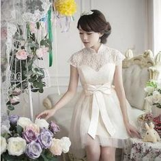 Buy 'Fantasy Bride – Cap-Sleeve Mandarin-Collar Lace A-Line Cocktail Dress' with Free International Shipping at YesStyle.com. Browse and shop for thousands of Asian fashion items from China and more!