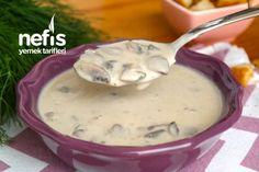 Harika Kremalı Mantar Çorbası (videolu) - Nefis Yemek Tarifleri Turkish Recipes, Cheeseburger Chowder, Soup, Pudding, Desserts, Herbs, Tailgate Desserts, Deserts, Custard Pudding