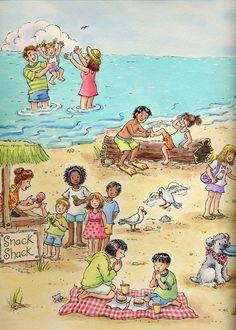 Verano, playa - Ilustración Marilee Harrald Pilz.