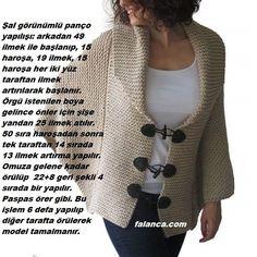 Şal Görünümlü Panço Yapımı Knitting Stitches, Knitting Patterns, Hairstyle Trends, Sweater Hat, Moda Emo, Bolero, Needlework, Shawl, Knit Crochet