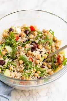 Pearl Couscous Recipes, Pearl Couscous Salad, Mediterranean Couscous Salad, Mediterranean Recipes, Lunch Recipes, Salad Recipes, Cooking Recipes, Healthy Recipes, Meatless Recipes